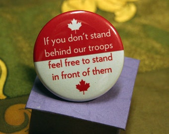 Red & White Canadian Flag Supporting Troops Button
