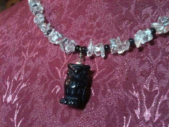 Blue Sunstone Carved Owl with Clear Quartz Chip Necklace