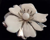 White and Silver Flower Vintage Brooch and Earring Set