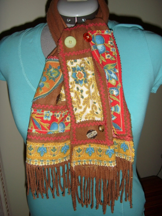 "Reserve Listing For ""LETTY""   Rust Scarf with Vintage Patchwork"