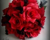 Red Roses Bridesmaid Bouquet Bridal Red and Black  Wedding Flowers