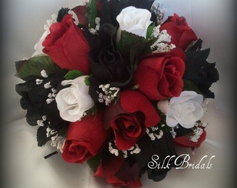 Black White Red ROSES Bridal BOUQUET Bridesmaid Silk Wedding Flowers
