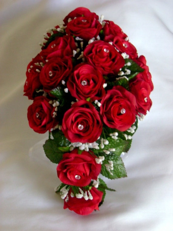 Apple Red Silk Roses Bridal Bouquet Wedding Flowers