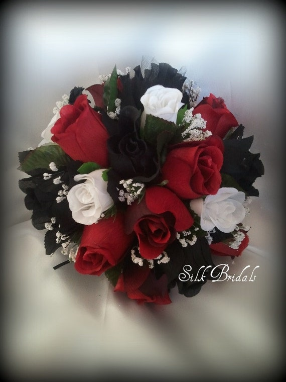 Black White Red ROSES Bridal BOUQUET Bridesmaid Silk Wedding