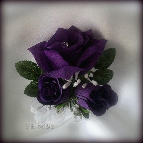 Wrist Corsage Purple Roses Silk Wedding Flowers Mother Grandmother bridal