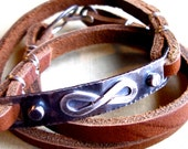 Personalized Infinity Triple Wrap Leather Bracelet in Sterling Silver /// We Are The Lucky Ones
