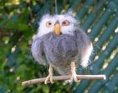 Owl needle felt Bird Wool Sculpture Waldorf Made To Order
