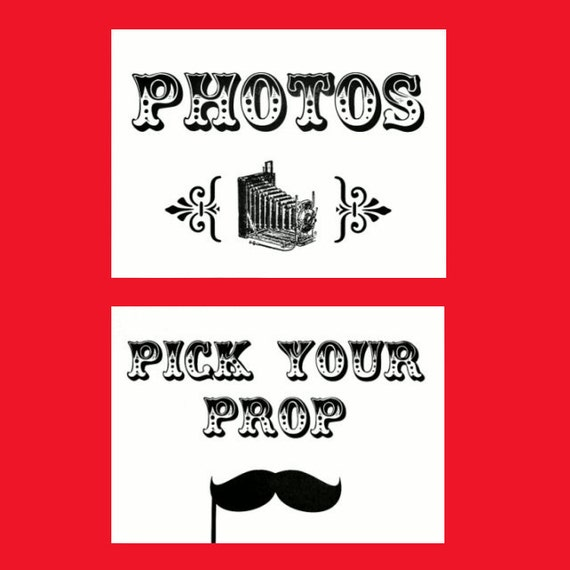 Photo Booth Signs - Set of 3 - Choose White or Kraft - Photo Booth Props