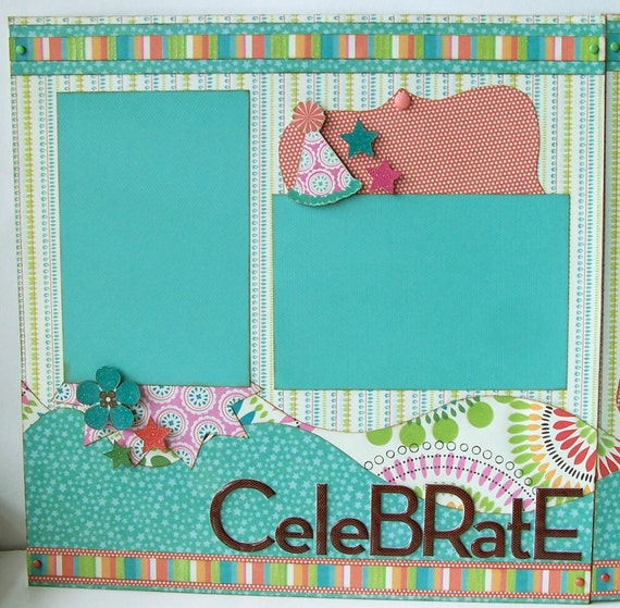 Celebrate Premade 2 Page 12x12 Scrapbook Layout