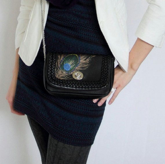 Gray Peacock Feather Cross Body Purse Hand Painted