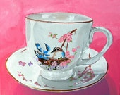 Bird on Teacup - Original Painting