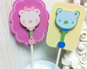 Baby shower Rattle cupcake topper for boy or Girl