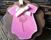 Baby Shower pink onesie Tags
