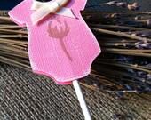 Baby Shower pink onesie  cupcake topper