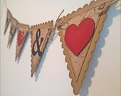 Mr. & Mrs. Wedding Pennant Garland Banner- Cream Vintage style Shabby Chic - Brown and cream - decoration