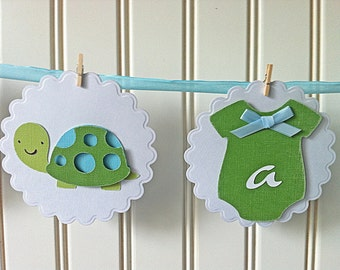 Baby Boy Onesies Vintage Blue and Lime green Baby Shower Banner