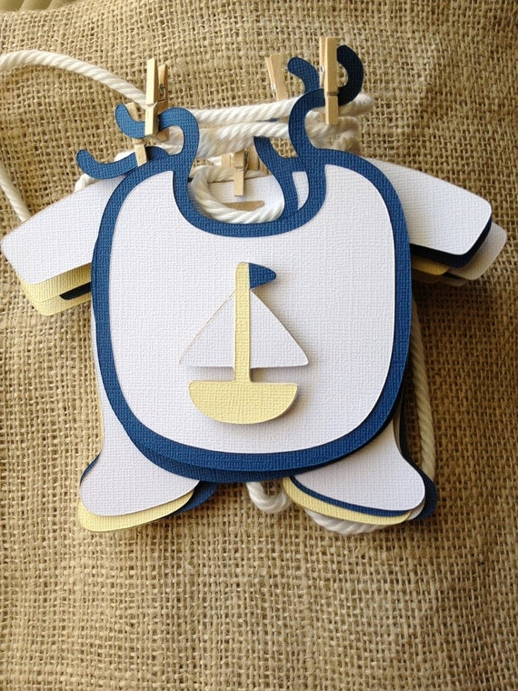 Items similar to nautical baby boy shower banner on etsy for Baby shower nautical decoration