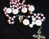 Handmade breast cancer rosary