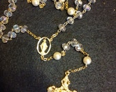 Pearl and crystal gold rosary
