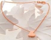 Solid 9ct Rose Gold heart bracelet, Rose Gold Heart bracelet, heart charm bracelet, valentines gift