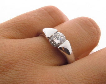 1ct Diamond 'Comfort' Engagement Ring in 18ct White Gold