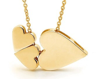 9ct yellow gold '3 Hearts' Necklace, Triple love pendant, Valentine's day