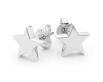 Small silver star stud earrings