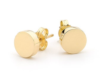 Small yellow gold disc earrings