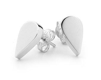 Small sterling silver tear drop stud earrings