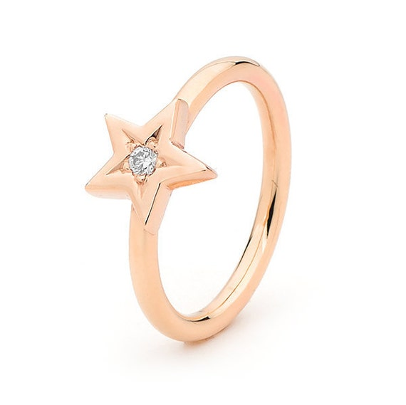 Diamond Star Ring, Rose Gold Baby Star diamond Ring