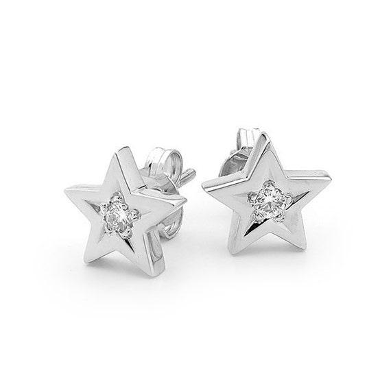Diamond Star Studs Small White Gold Diamond Star Stud