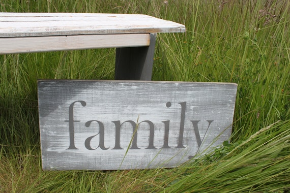 Distressed Aged Pine Wood Wall Art  FAMILY Sign