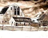 Vintage sepia photography - 8x10 old barns, fine art print - texture, contrast, wall art, home decor