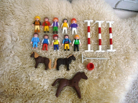 Lot of Vintage Playmobil Children Figures with Horses and Accessories