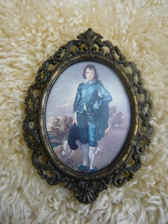 Vintage Italian Brass Frame of Blue Boy Made in Italy