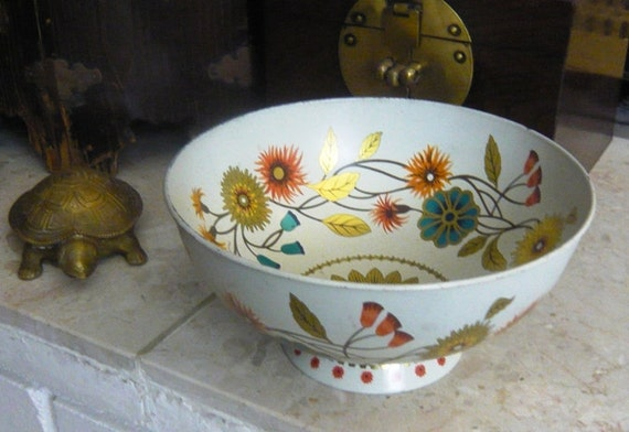 Vintage Baret Ware Compote Bowl in Orange, Gold, Teal, and Ivory Made in UK