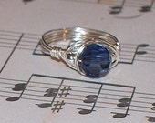 Navy swarovski wrapped ring with silver side accents size 8