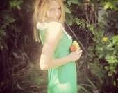60s 70s Vintage Green Hippie Long Dress Flower Power