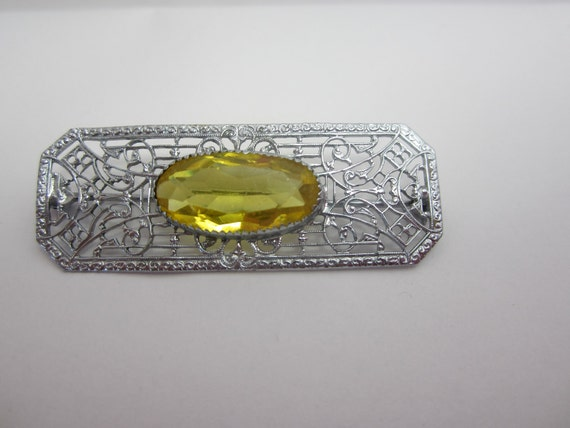 Yellow and Silver Art Deco Filigree Brooch 1930s
