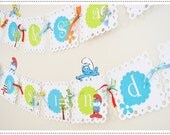 THE SMURFS birthday party banner -can be customized