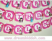 Girls Birthday Banner with American Girl (historical dolls)theme-- can be personalized/ customized