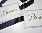 Wedding Chair Signs - Bride and Groom Chair Signs - Ribbon Chair Signs for Weddings
