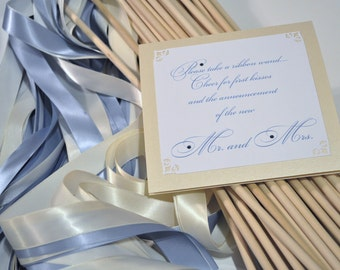 50 wedding ribbon wands (with sign and vase) choose 2 colors
