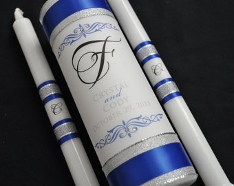 Customized Wedding Unity Candle - Wedding Candles - Monogram Wedding Candle - Unity Candle - Royal Blue Wedding - Royal Blue and Silver