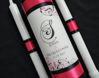 Custom Monogram Unity Candle - Wedding Unity Candle - Pink and Black Wedding Candle