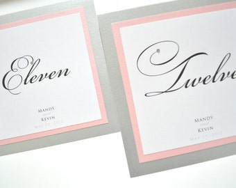 Wedding Table Numbers - Table Numbers for Weddings - Pink and Silver Weddings - Elegant Table Cards