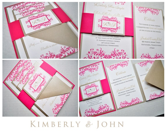Custom Wedding Invitations, Hot pink wedding, Wedding Invitations, Pink Wedding, Invitations, Free unity candle