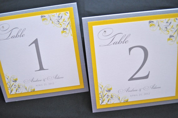 Table Numbers - Wedding Cards - Yellow Wedding Table Numbers