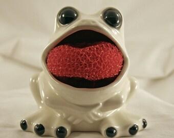 Ceramic Brillo Frog - Black & White