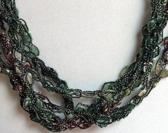 Camo  - Hand Crocheted Necklace